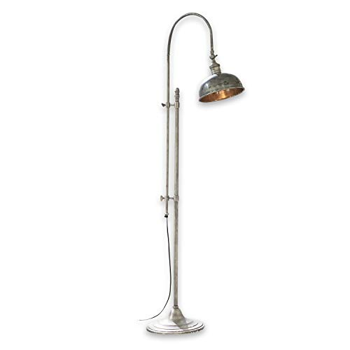 Loberon Stehlampe Conway, Messing, H/Ø 153/27 cm, antiksilber, E27, max. 40 Watt, A++ bis E