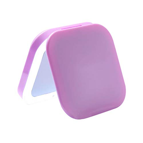 Miroir de Maquillage- Miroir de Toilette portatif avec lumière LED, lumière d'appoint pour agrandir Le Miroir Pliant (Couleur : Purple)