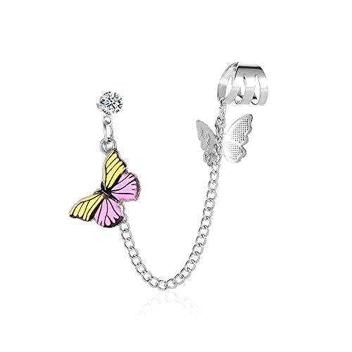 Fantasy Einfarbige Schmetterlingsohrringe Lange Ohrringe Ohrringe All-match-ohrringe Für Mädchen 12 weißes K gelbes Pulver 12457