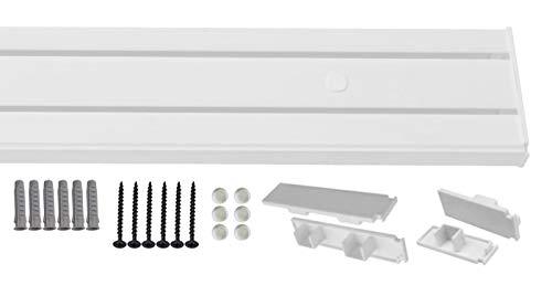 1-2- läufig Gardinenschiene Vorhangschiene Set Vorgebohrt mit Seitendeckel und Montagezubehör 2-laufig 200cm