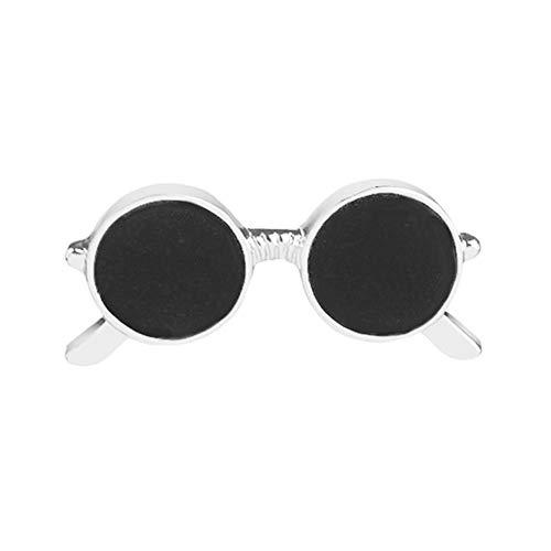 Demiawaking Spilla a Forma di Occhiali da Sole retrò in Smalto Spille per Costumi Accessori Gioielli Decorazione Casual (Argento)