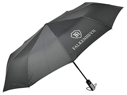 Falkenheyn Regenschirm Sturmfest Taschenschirm mit voll-automatischer Auf Zu Automatik Windfest Schwarz