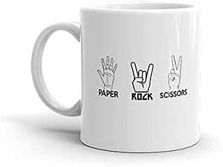 Paper Rock Scissors Funny Novelty Humor 11oz White Ceramic Glass Coffee Tea Mug Cup