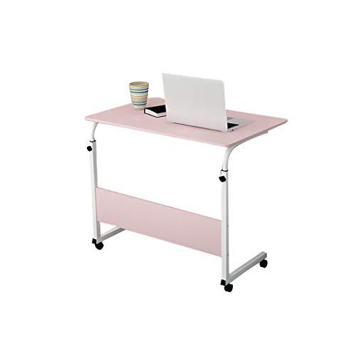 Wenjun Verstelbaar nachtkastje voor laptop, opvouwbaar ontbijt, draagbaar nachtkastje, verstelbaar en verrijdbaar, klaptafel, 5 kleuren, 70-90 cm roze