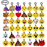 42 Pack Emoji Mini Keychain Plush Pillows, Easter Egg Fillers,Birthday Party Favors Supplies,Goodie Bag Stuffers and Classroom Rewards Valentine's Day Gift