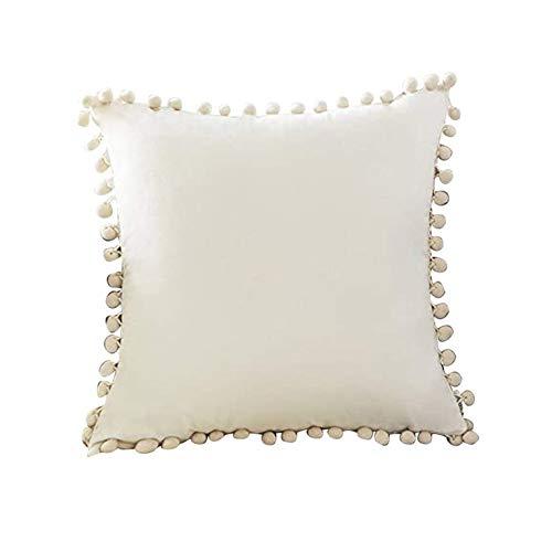 QiKun-Home Fundas de cojín Decorativas Superiores con Pompones Partículas Suaves Fundas de cojín sólido de Terciopelo para sofá Dormitorio Coche Cremoso-Blanco