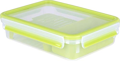 Emsa Clip&Go Brunchbox - Recipiente hermético de plástico con soporte de rejilla para crear 2 alturas una para el aperitivo y otra con rejilla ideal para sólidos como bocadillos, rectangular, 1,20 L