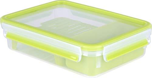 Emsa Lunch- und Snackbox mit 2 praktischen Einsätzen und Deckel, Brunchbox, Volumen: 1,2 Liter, Transparent/Grün, Clip & Go, 518099