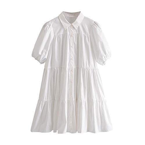 Casual Witte Mini-Jurk Dames Lantaarn Korte Mouw Vrouwelijke Geplooide Jurk Grote Maten Dames Jurken Gewaad