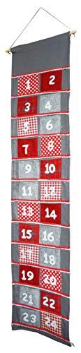 khevga 165cm Adventskalender Stoff zum Befüllen groß XXL mit großen 11.5x11.5 cm Taschen für Kinder und Erwachsene