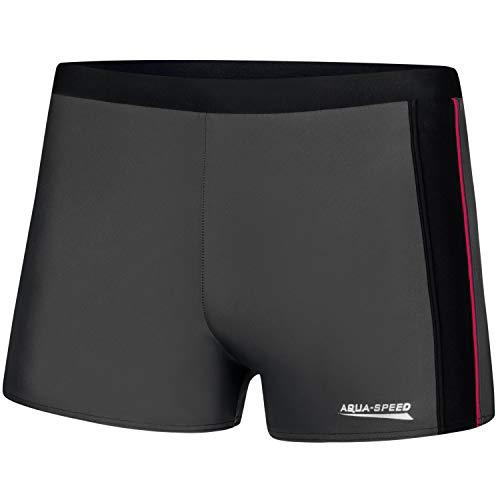 Aqua Speed Jason Mens Bañadores | Pantalones de baño para Hombres | Protección UV | 18 Gris - Negro - Rojo Tubería | Tamaño: XL