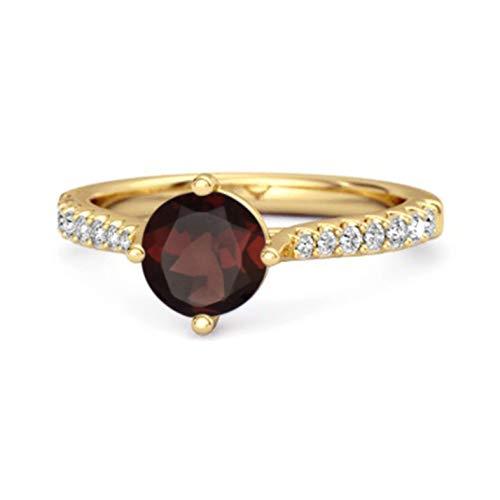 Shine Jewel Multi Elija su Piedra Preciosa Acentos de Solitario Anillo Princesa De Plata De Ley 925 Chapado En Oro Amarillo De 0.25 Ctw (17, Granate)