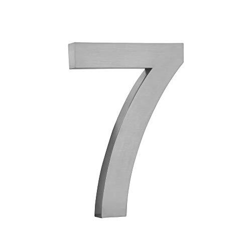Hausnummer aus gebürstetem Edelstahl V2A im 3D-Design Rostfrei und Wetterfest inkl. Montagematerial - Hausnummer Höhe 20 cm/Tiefe 3 cm schönes 3D Design (7)