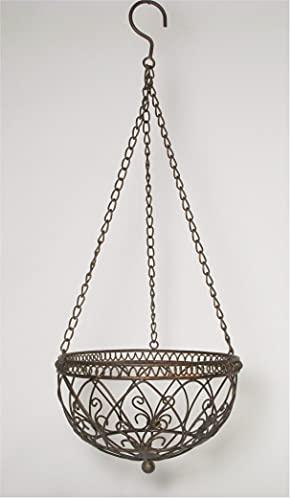 Hängekorb Blumenampel *Pflanzkorb Luca* Metall braun antik, ca. Ø 25 cm Landhaus