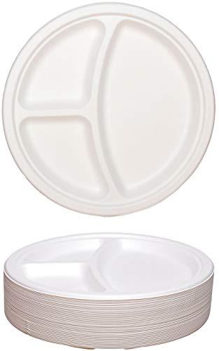 idea-station ECO Zuckerrohr-Teller einweg, 50 Stück, 26 cm, rund, 3-geteilt, Papp-Teller, Einweg-Teller, Einweg-Geschirr, Plastik-Geschirr, Plastik-Teller, Party-Teller, Party-Geschirr, Garten-Party