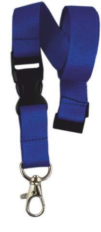 10 x unbedruckte Schlüsselbänder, Schlüsselband Lanyard neutral ohne Druck 20 mm breit, Steckverschluss Sicherheitsverschluss (blau)