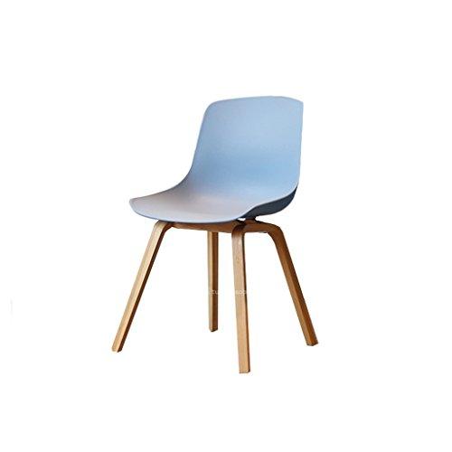 Northern Simple Oak Breakfast Holz Barhocker mit Blau Thicken Plastic Sitz und Rückenlehne Bar Chair Erwachsene Esszimmerstuhl Coffee Chair Multifunktionale Bürostuhl Haushalt