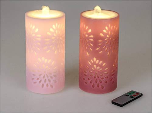 Formano LED-Kerze mit Brunnen (1Stück) 20x10 cm in pink oder rosa, mit Fernbedienung und Timer