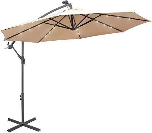 AJH Sonnenschirm Sonnenschirm mit Solar LED-Beleuchtung Gartenschirm Ampel Sonnenschirm, für Outdoor, Garten und Terrasse