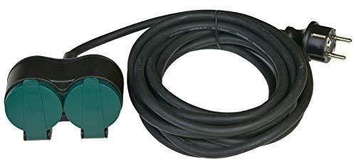 HEITECH Schuko Verlängerungskabel 5 Meter Kabel - Stromkabel Verlängerung 2fach mit Kindersicherung für den Außenbereich IP44, 250V - 5m Kunststoff Kabelverlängerung schwarz