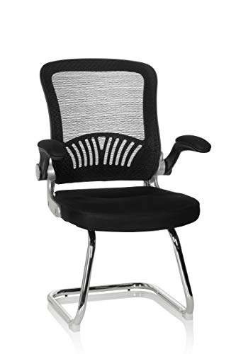 hjh OFFICE 706817 Besucherstuhl Flyer PRO V Netzstoff Schwarz Freischwinger Stuhl mit Lordosenstütze, Armlehnen klappbar
