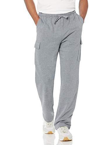 Amazon Essentials Cargo Fleece Sweatpant Pantaloni della Tuta, Grigio Chiaro Puntinato, L