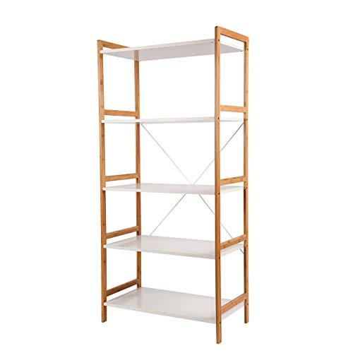 ZRI Bamboo Standregal Wandregal mit 5 Ablagen 150x70x37cm für Bücher und Decoartikeln–stilvoller...