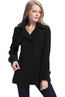 BGSD Women's Piper Wool Blend Pea Coat, Black, Small by