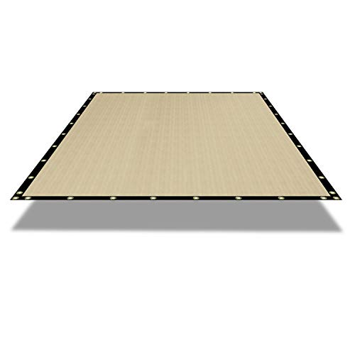 E&K Sunrise Waterproof Pergola Replacement Cover Gazebo Canopy Sun Shade Sail Rectangle Shade Cloth Straight Edge Awning Tarp Solid Vinyl UV Block for Porch Patio Balcony 9' x 26' Beige