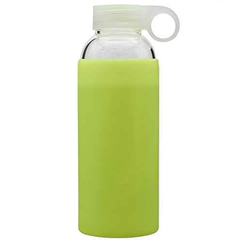 Bonison Durable Glass Water Bottle with Soft Colorful Silicone Sleeve Handle Lid 14 Oz Yellow