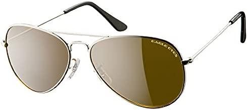 Eagle Eyes Classic Aviator Sunglasses -Silver Stainless Steel Frame (58mm), Polarized Lenses