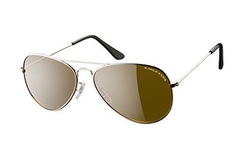 Eagle Eyes Classic AVIATOR - Gafas de sol (58 mm, marco de acero inoxidable), color plateado