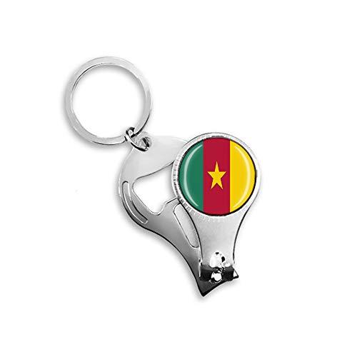 Kamerun-Flagge Bierflaschenöffner Nagelknipser Metall Glas Kristall Schlüsselanhänger Reise Souvenir Geschenk Schlüsselanhänger Zubehör