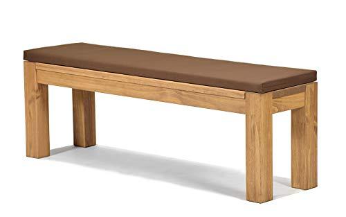 Sitzbank Rio Bonito 140x38cm + Bankauflage braun, Holzbank Massivholz Pinie, geölt und gewachst, Farbton Honig hell, Optional: passende Tische
