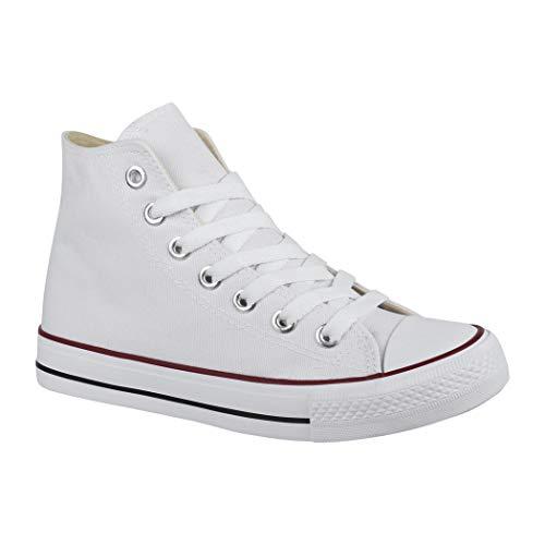Elara Zapatilla Unisex Zapatos Deportivos Cómodos Mujer y Hombre Textil High Top Blanco White-42