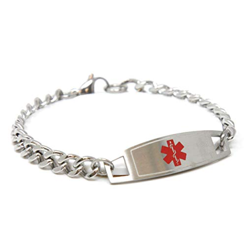 Pre-Engraved & Customized Alzheimer's Medical Bracelet, Medic ID Card Incld (Curb Chain)
