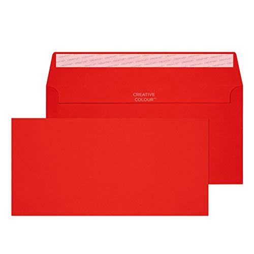 Creative Colour 25206 Farbige Briefumschläge Haftklebung Pillar Box Rot DL+ 114 x 229 mm 120g/m² | 25 Stück