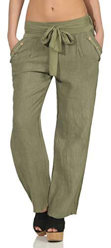 Malito Mujer Pantalones Lino Pantalones Finos Ocio Colores Lisos 8174 (Oliva, L)
