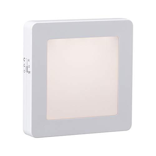Paulmann 92493 LED Stecker Nachtlicht Esby eckig 0,016 Watt mit Dämmerungssensor Weiß Kunststoff 3000 K Warmweiß, 0.016 W