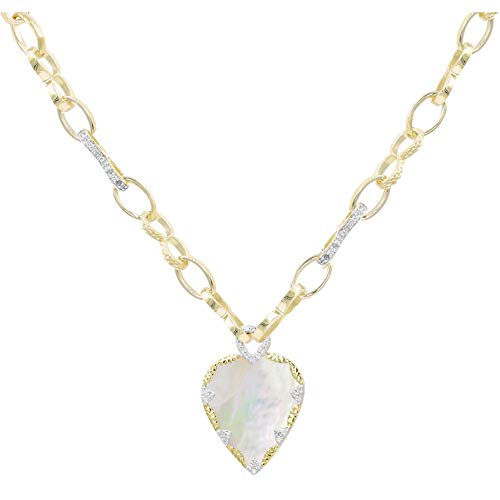 Be Maad Heart and Zircon Long Link Necklace (Pearlescent)