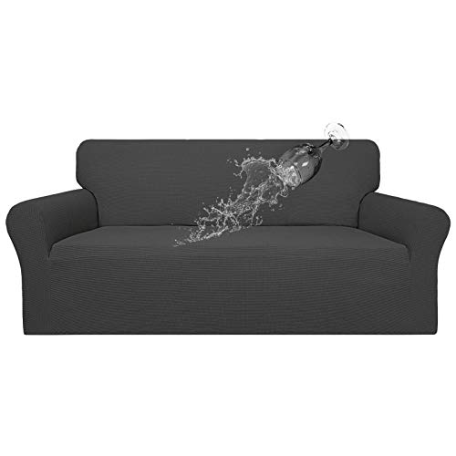 Easy-Going 100% Waterproof Couch Cover,Dual Waterproof Sofa Cover, Stretch Jacquard Sofa Slipcover, Leakproof Furniture Protector for Kids, Pets, Dog and Cat ( Oversized Sofa, Dark Gray)