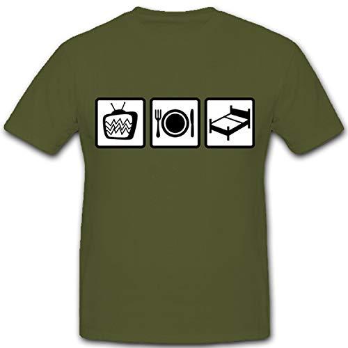 TV comer Dormir Televisión glotze Plasma LED comer cama FUN Diversión Humor caou chpotato vago–Camiseta # 5045 verde oliva XX-Large