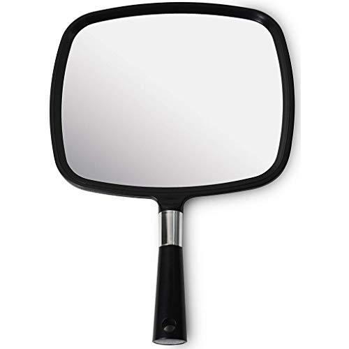 BTPDIAN Miroir de maquillage Beauty, miroir de barbier, grand et confortable miroir de poche avec poignée - modèle Barber noir