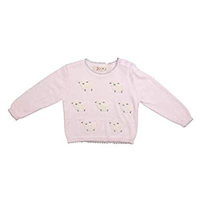 Zubels Baby Girls' Hand-Knit Cotton Lamb Sweater, All-Natural Fibers, 24 Months, Pink