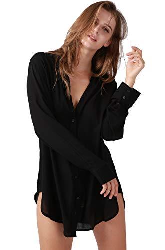 パジャマ ワンピース ネグリジェ 膝丈 レディース 部屋着 長袖 肌に優しい 前開き シャツワンピ シャツ ルームウェア 綿 セクシー ルームワンピースナイトウェア (ブラック, XL)