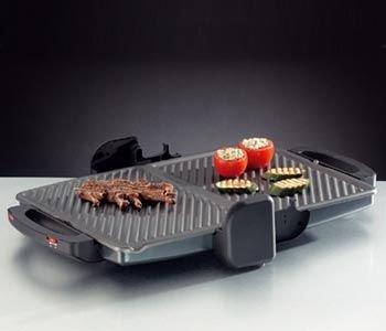 ROMMELSBACHER Comfort Grill KG 2000 - flexible Höhenverstellung, Grillflächen stufenlos und getrennt regelbar, herausnehmbare, antihaftbeschichtete Grillplatten je 33 x 24 cm, Fettablauf, 2000 Watt