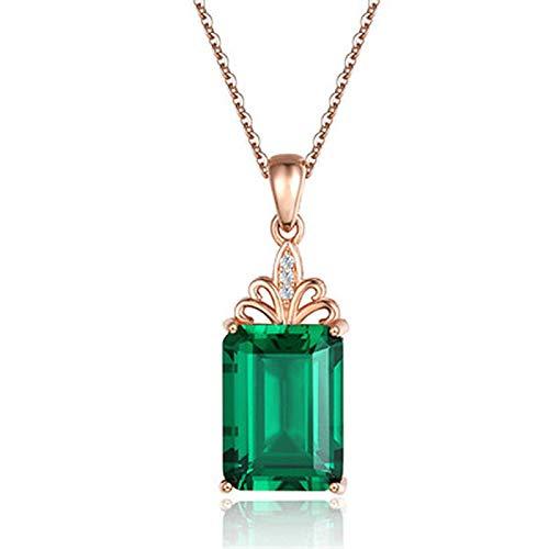 QWJ Collar largo cuadrado esmeralda para mujer, regalo del día de San Valentín