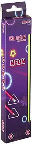 SPIRIT 404259 TTS Bleistift mit Radiergummi Neon, farbig sortiert, 12 Stk