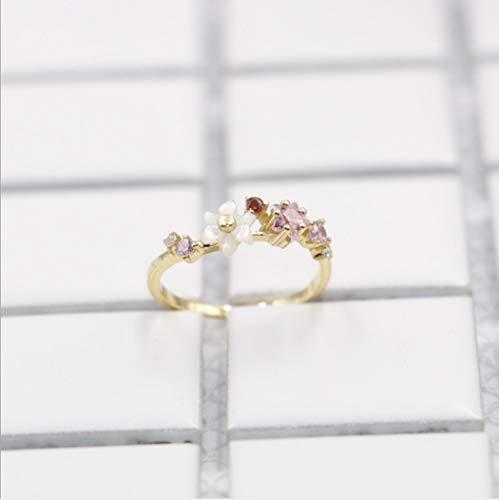 YOYOYAYA Ring Weiblichen Schmuck S 925 Silber Intarsien Diamond Blume Simple Mädchen Datum Delikatesse Vorschlag Geschenk, Sechs