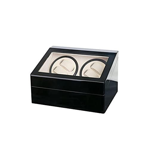 Futchoy Caja giratoria de madera para relojes automáticos 4 + 6 relojes, caja de relojes Watch Winder Almacenamiento de gafas, presentación con escaparate Watch Box automático Vitrina, negro y blanco,